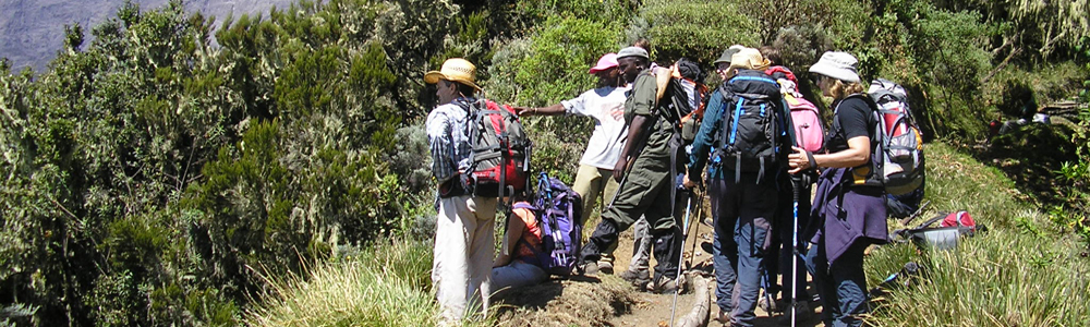 Hiking group on Mount Meru