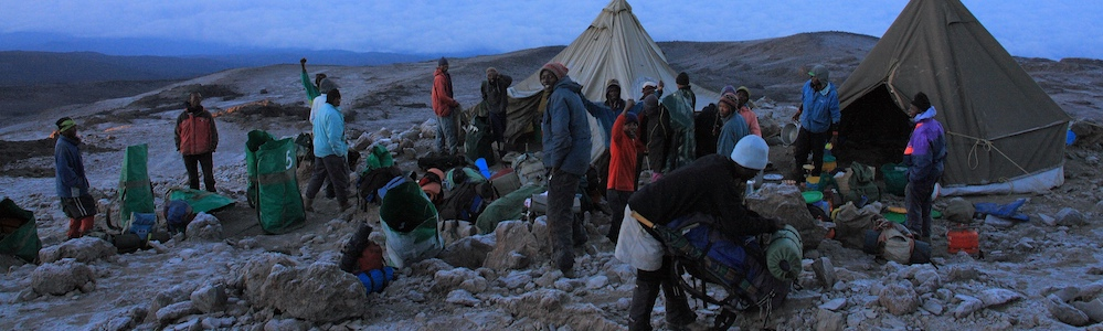 SENE mountain crew set up the camp on Kilimanjaro. Photo by Martin Schaefer