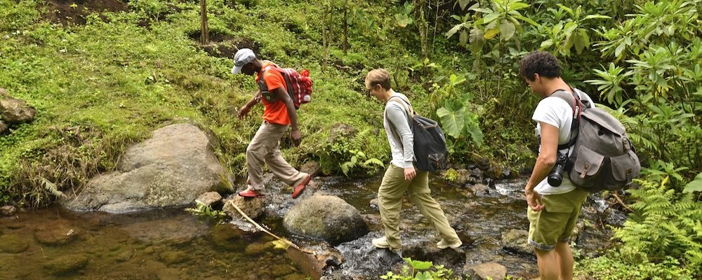 Manase, SENE guide, and SENE clients walk on the Kilimanjaro foothills