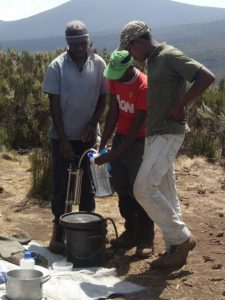 Filtered water on Kilimanjaro