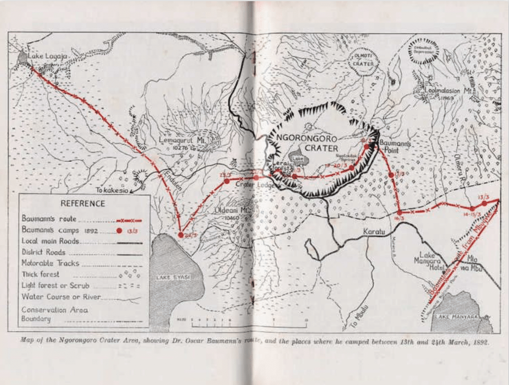 Oscar Bauman's route on the Ngorongoro Crater area